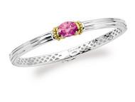 Pink Sapphire Bracelet in 18k Gold & Sterling Silver