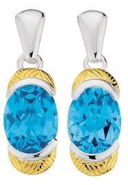 Blue Topaz Earrings in 18k Gold & Sterling Silver