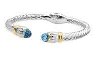 Blue Topaz Bracelet in 18k Gold & Sterling Silver