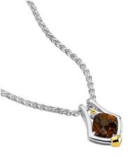 Honey Citrine Pendant in 18k Gold & Sterling Silver