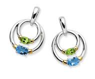 18K Gold & Sterling Silver Blue Topaz - Peridot Earrings